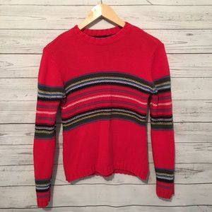 Tommy Hilfiger Red Stripe Knit Sweater M